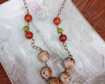 Vintage lucite and czech glass beaded necklace, fall colors