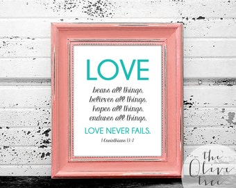 Bible Verse Art print, printable Scripture wall art decor, INSTANT DOWNLOAD