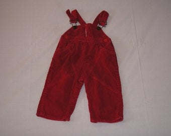Vintage 1980's - Baby Overalls in Red