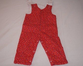 Vintage 1980's - Quilted Baby Overalls in Red with Flowers