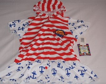 Vintage 1980's - Bon Jour Hooded Baby Dress with Sailing