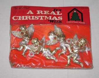 Vintage 1970's - A Real Christmas set of golden angels
