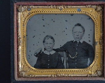 Neff's Patent 1856 Melainotype Tintype  1/6 Plate Melainotype Two Young Boys Photo Image 1800s Civil War Period Children Photograph