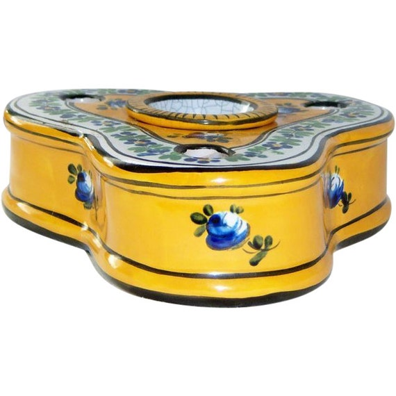 faience french pottery triple antique inkwell henri delcourt. Black Bedroom Furniture Sets. Home Design Ideas