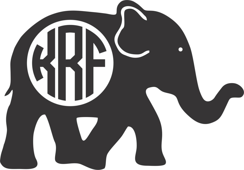 Elephant monogram vinyl sticker decal by twangboutiquedotcom