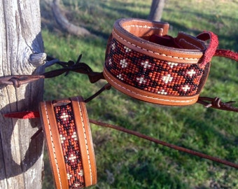 Loom Beaded Bracelet * (Wide Width) * Genuine Leather -- MADE TO ORDER