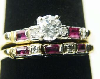 Vintage 14k Ruby Diamond Wedding Ring Set Diamond Engagement Ring Set Diamond Engagement Ring Matching Band 14k Ruby Diamond Wedding Set