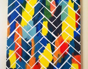 Colorful Herringbone Hand Painted Canvas, Made To Order - 11x14