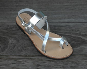 Sandy Pure Leather Sandals in Black or Silver