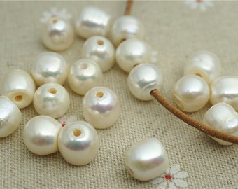 Top drilled,10PCS,potato round pearl, large hole freshwater pearls,10-12mm big potato pearl beads, loose freshwater pearl,potato pearl