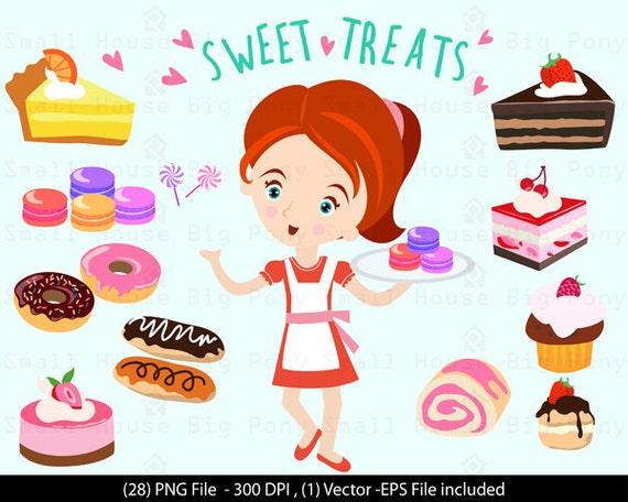 Digital Clipart - Girl with Sweet Treats Clip Art / Digital Clip art/ dessert clip art,  - Vector Clipart, Dessert Shop Clipart