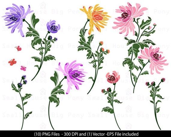 Chrysanthemums, Floral Clip Art, Flowers Clip Art, Pretty Flowers Clip Art, Digital Scrapbooking, Floral Art, Digital Download Clipart, Art