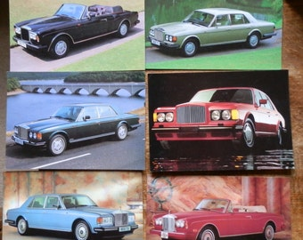 Lot of 6 Rolls-Royce and Bentley Postcards 1980's: Bentley Turbo R, Corniche, Bentley Eight, Silver Spirit, Mulsanne, Continental
