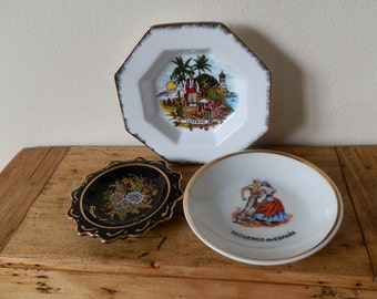 Vintage Miniature Porcelain Plate Souvenirs of Europe:  Spain, Corfu and Tenerife