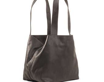 black leather shoulder bag - black leather purse - black leather tote purse - black leather tote bag - CLLMB