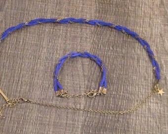 Finery headband and wristband Blue Suede