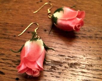 Silk Rose Pink Dangle Earrings