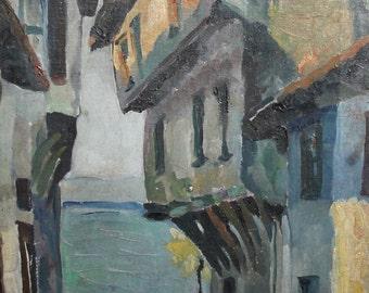 Antique Impressionist oil painting landscape houses signed