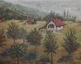 Vintage oil painting forest landscape hut