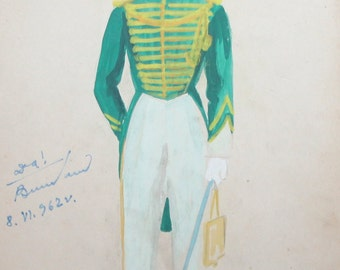 1962 Gouache painting officer theatre costume design signed