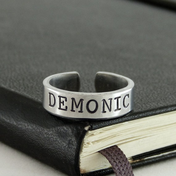 Demonic Ring - Satanic - Death Metal - Inverted Pentacle - Aluminum Ring