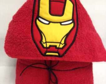 Ironman Inspired Applique Hooded Towel,Superhero Hooded Bath Towel,Ironman Hooded Towel