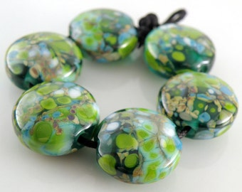 Lime Bang SRA Lampwork Handmade Artisan Glass Lentil Beads 18mm Made to Order Set of 6