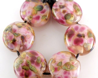 Wild Hearts SRA Lampwork Handmade Artisan Glass Lentil Beads 18mm Made to Order Set of 6