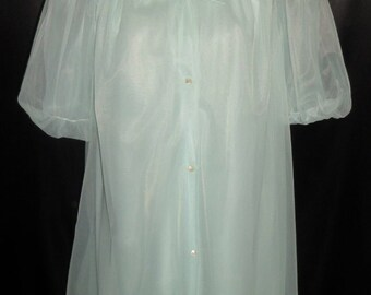 Vintage Lorraine Sky Blue Chiffon Peignoir and Nightgown Set S
