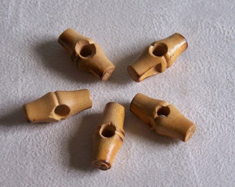 5 buttons for duffle coat wooden flamed 1.02 in