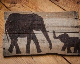 Elephant decor Elephant nursery Elephant home decor Elephant wall decor Pallet art Rustic home decor Childrens art Childrens wall art
