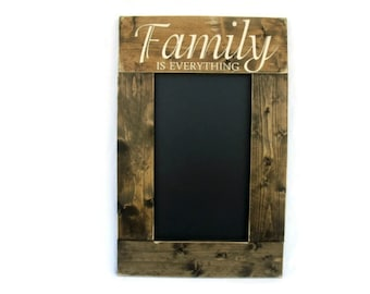 Rustic Wood Framed Chalkboard Wall Decor - Family Is Everything (#1026-CB)