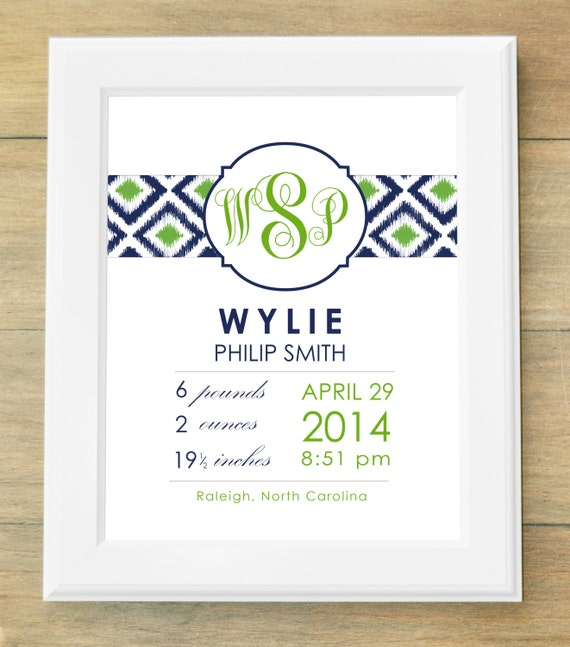 Birth Announcement Wall Art Ikat