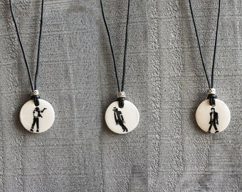 Michael Jackson Silhouette Handpainted Necklaces