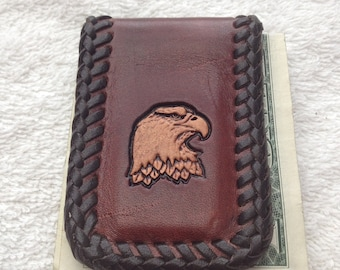 Hand tooled money clip with eagle