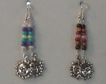 Handbeaded Celestial Sun Earrings