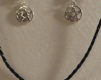 Hand Beaded Braided Leather Pentagram Necklace & Earring Set