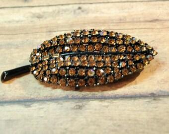 Vintage Brown Amber Rhinestone Brooch Black Metal Leaf Pin Brooch Unsigned