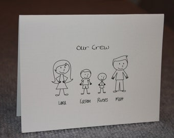 12 Personalized Notecards - Family - Stick Figures