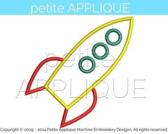 cute rocket Applique Design for Embroidery Machines Instant Download - 3 sizes