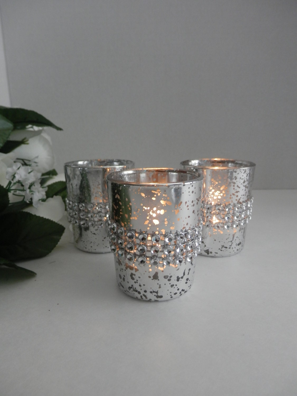 Wedding centerpiece rhinestone mercury glass candle holder