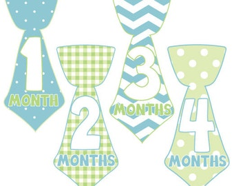 Bow Tie Monthly Baby Boy Stickers,Tie Monthly Onesie Stickers,Peel Off Stickers,Photo Stickers,Body Suit Stickers,Baby Shower