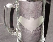 Robin Red Hood Batman Partner logo Hand Etched your pick Beer Mug or Pint Glass