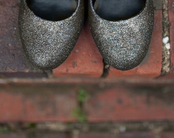 Gray wedding shoes Silver Glitter shoes Wedding shoes silver Silver shoes silver prom shoes silver high heels low heel flats SIZE 5