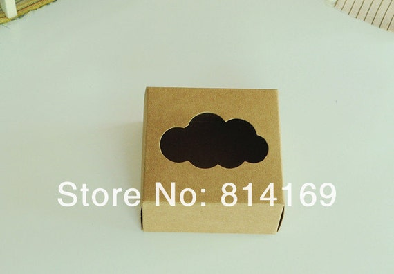 100 pieces 7 5 7 2 4cm kraft paper box with cloud window for 100 cm window box