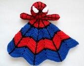 Super Hero Spider Lovey - CROCHET PATTERN instant download - crochet baby blanket pattern - baby gift crochet pattern
