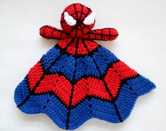 Super Hero Spider Lovey - CROCHET PATTERN instant download - crochet baby blanket pattern - baby gift crochet pattern