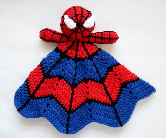 Crochet Pattern For Spiderman Blanket : Super Hero Spider Lovey CROCHET PATTERN instant download