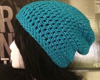Blue Sparkle Slouched Beanie