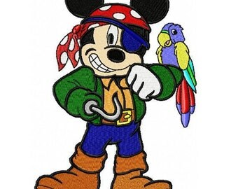 Pirate Mickey Embroidery Design in 3 Sizes - Instant Download